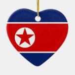 Ornamento del corazón de la bandera de Corea del N Ornamento Para Reyes Magos