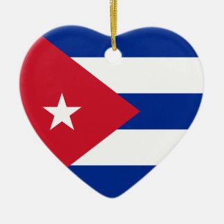 Ornamento del corazón de la bandera de Cuba Adorno De Navidad