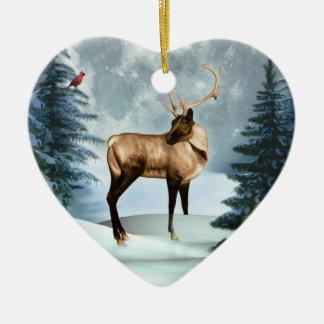 Ornamento del corazón de la escena del invierno de ornatos