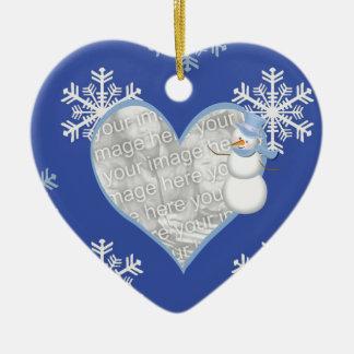 Ornamento del corazón de la foto del navidad del adorno navideño de cerámica en forma de corazón