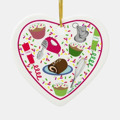 Ornamento del corazón de la hornada del día de fie ornamento de navidad