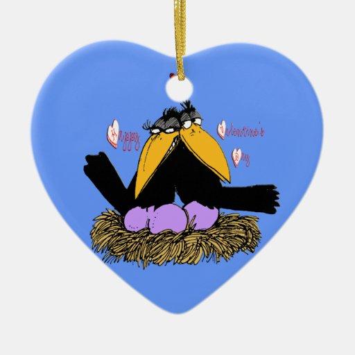 Ornamento del corazón de la jerarquía del amor de adorno navideño de cerámica en forma de corazón