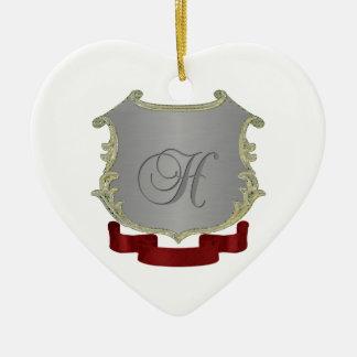 Ornamento del corazón de la letra H del monograma Adorno Navideño De Cerámica En Forma De Corazón