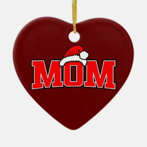 Ornamento del corazón de la mamá de Santa Adorno Navideño De Cerámica En Forma De Corazón
