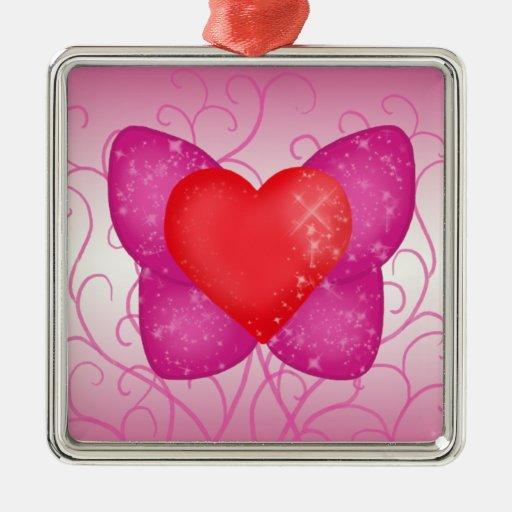 Ornamento del corazón de la mariposa adorno navideño cuadrado de metal