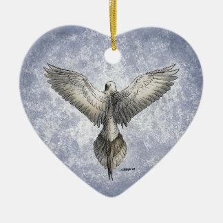 Ornamento del corazón de la paloma que vuela perso adorno para reyes