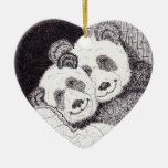Ornamento del corazón de la panda de las sonrisas ornaments para arbol de navidad