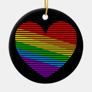 Ornamento del corazón de la raya del arco iris del ornaments para arbol de navidad