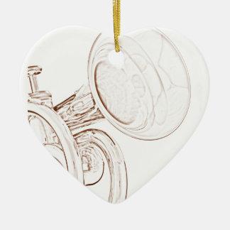 Ornamento del corazón de la trompeta adorno navideño de cerámica en forma de corazón