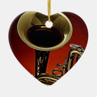 Ornamento del corazón de la trompeta adornos
