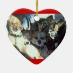 Ornamento del corazón de las chihuahuas ornamento para arbol de navidad