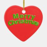 Ornamento del corazón de las Felices Navidad Ornamente De Reyes