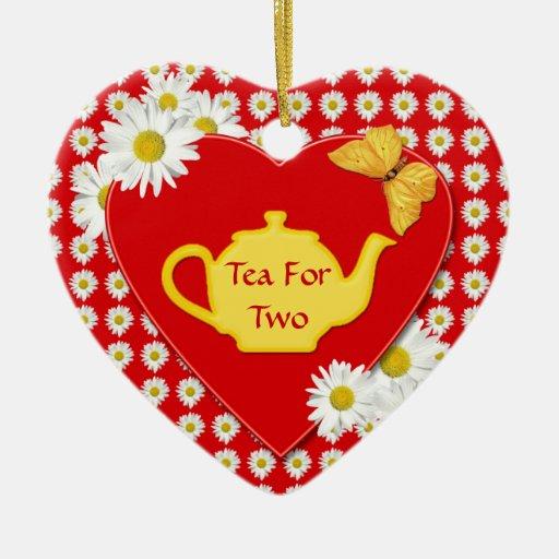 Ornamento del corazón de las margaritas de la adorno navideño de cerámica en forma de corazón