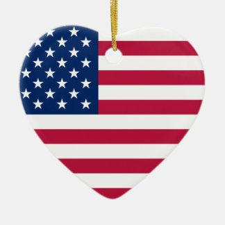 Ornamento del corazón de los E.E.U.U. de la Adorno Navideño De Cerámica En Forma De Corazón
