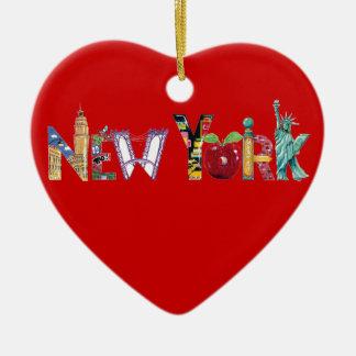 Ornamento del corazón de Nueva York Adorno Navideño De Cerámica En Forma De Corazón