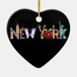 Ornamento del corazón de Nueva York Ornatos