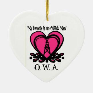 Ornamento del corazón de OWA Adorno Navideño De Cerámica En Forma De Corazón