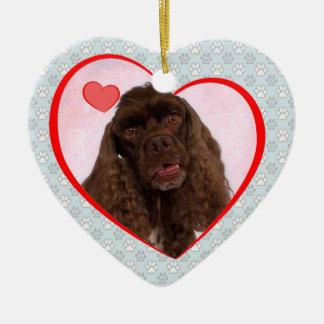 Ornamento del corazón de Spenser Adorno Navideño De Cerámica En Forma De Corazón