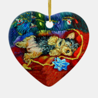 Ornamento del corazón de Yorkshire Terrier Adorno Navideño De Cerámica En Forma De Corazón