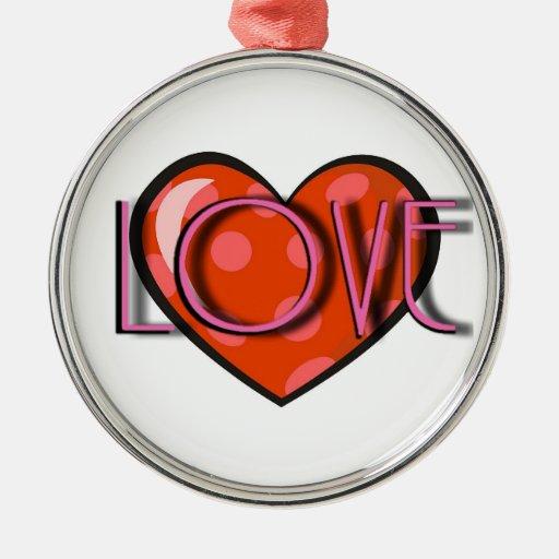 Ornamento del corazón del amor adorno navideño redondo de metal