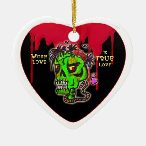 ornamento del corazón del amor del gusano ornamento para reyes magos