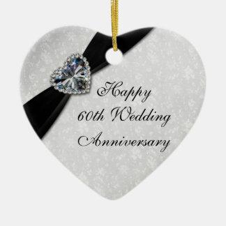 Ornamento del corazón del aniversario de boda del  ornaments para arbol de navidad
