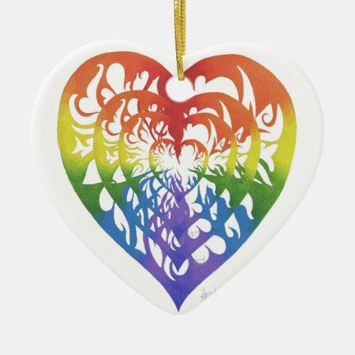 Ornamento del corazón del arco iris ornamentos para reyes magos