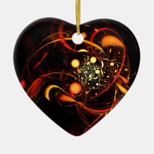 Ornamento del corazón del arte abstracto del adorno navideño de cerámica en forma de corazón