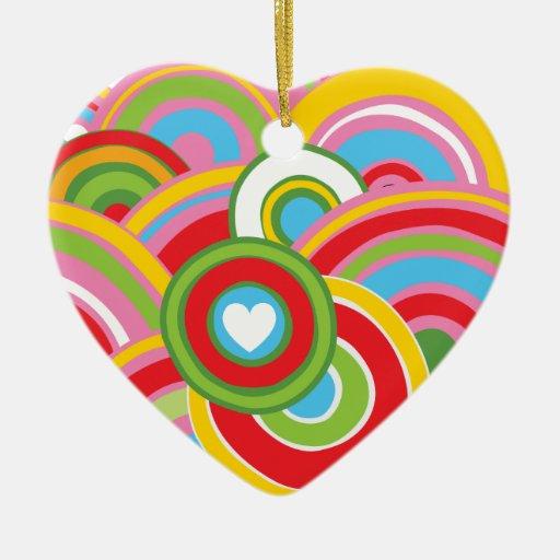 Ornamento del corazón del círculo adorno navideño de cerámica en forma de corazón