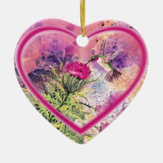 Ornamento del corazón del colibrí adorno navideño de cerámica en forma de corazón