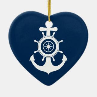 Ornamento del corazón del marinero del ancla adorno de cerámica en forma de corazón