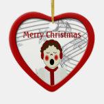 Ornamento del corazón del muchacho del Caroler del Adorno Para Reyes