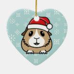 Ornamento del corazón del navidad del conejillo de adorno