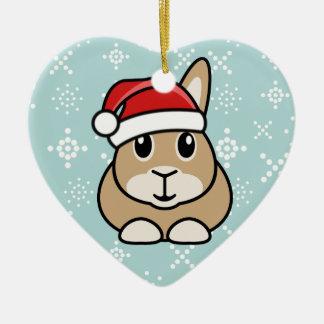 Ornamento del corazón del navidad del conejo del adorno navideño de cerámica en forma de corazón