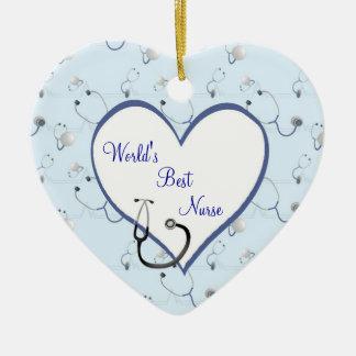 Ornamento del corazón del navidad del estetoscopio adorno navideño de cerámica en forma de corazón