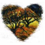 Ornamento del corazón del otoño con los árboles escultura fotográfica