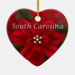 Ornamento del corazón del Poinsettia de Carolina d Ornamentos Para Reyes Magos