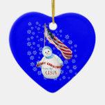Ornamento del corazón del recuerdo del navidad del ornaments para arbol de navidad