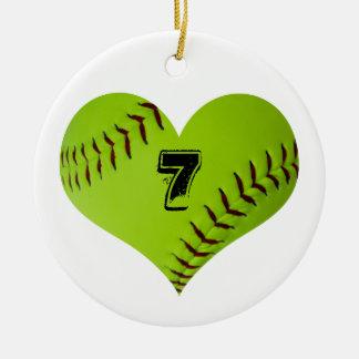 Ornamento del corazón del softball adorno navideño redondo de cerámica
