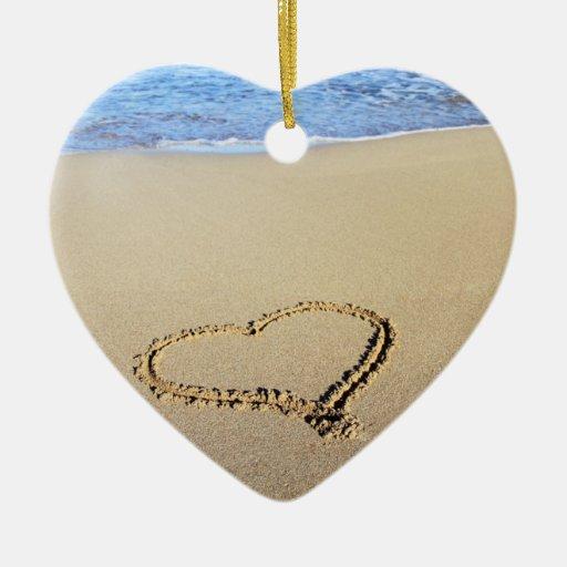 Ornamento del corazón y del beso ornaments para arbol de navidad
