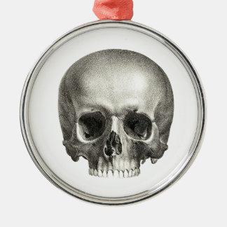 Ornamento del cráneo adorno navideño redondo de metal