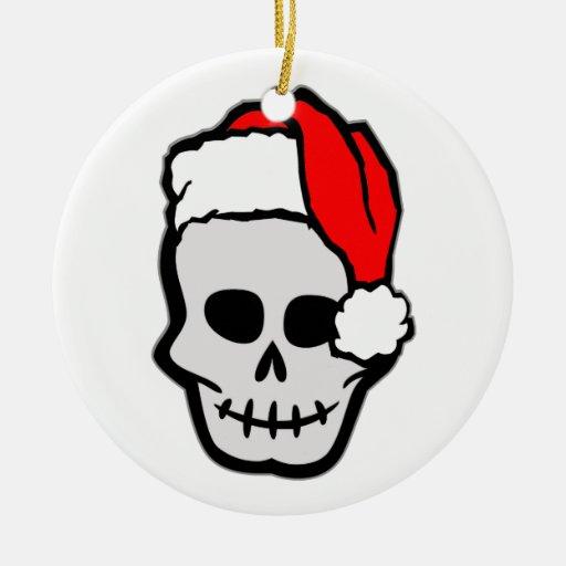 Ornamento del cráneo de Navidad Santa Adorno Redondo De Cerámica