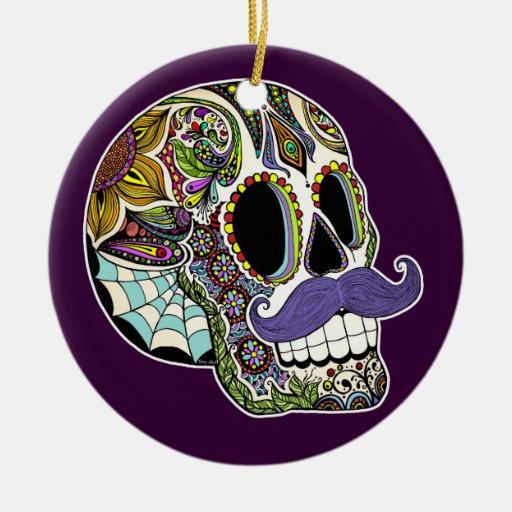 Ornamento del cráneo del azúcar del bigote (color) adorno redondo de cerámica