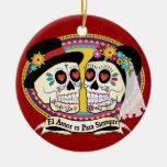 Ornamento del cráneo del azúcar del Los Novios Adorno Navideño Redondo De Cerámica