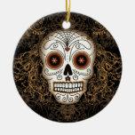 Ornamento del cráneo del azúcar del vintage adorno navideño redondo de cerámica
