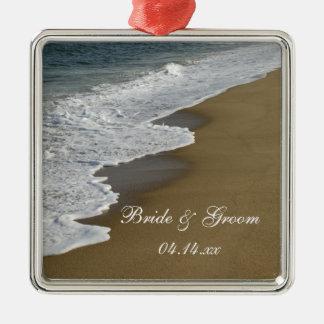 Ornamento del cuadrado del boda de playa ornamentos de reyes