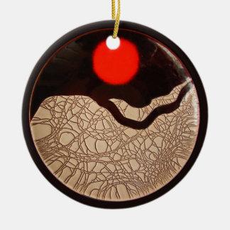 Ornamento del ~ de la salida del sol del crujido adorno navideño redondo de cerámica