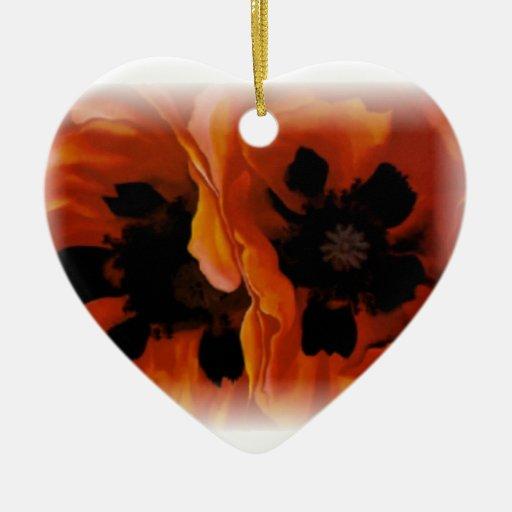 Ornamento del ~ de las amapolas adorno de cerámica en forma de corazón
