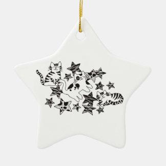 Ornamento del ~ de los gatos y de las estrellas adorno navideño de cerámica en forma de estrella