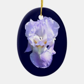 Ornamento del ~ del iris barbudo adorno navideño ovalado de cerámica